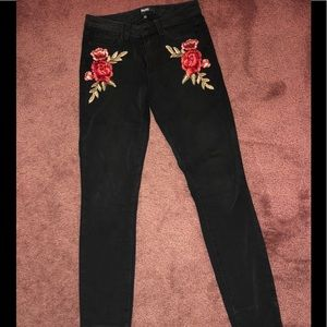 Paige Black Denim Embroidered Jeans